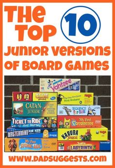This is a list of our very favorite junior versions of adult board games! All of these are perfect for our 6 year old and there are even a few that our 2 year old can fully participate in. Some of our favorite games for family game night are included in this list! #boardgames #familygames #gamenight #kidsgames #dadsuggests Board Games For Kids, Family Board Games, Game Night Snacks, Family Fun Night, Junior, Card Games, Fun Activities, Therapy Activities, Play Therapy