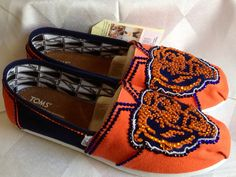 Chicago Bears Womans shoes custom Toms orange by CZCustomDesigns