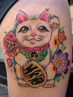Lucky Cat. #manekineko #cat #tattoo