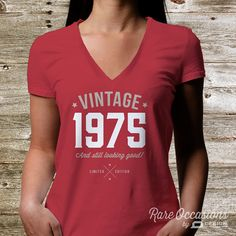 Rare Occasions is proud to present our classic 40th birthday, vintage design on this great looking 100% cotton women's crew neck