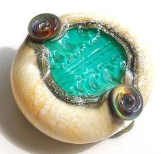 Ocean Urchin Egg Teal Tide Reflection handmade lampwork by Genea