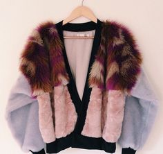 Lilac, pink and multicoloured faux fur mix. An exclusive, one off design. Fashion Killa, Look Fashion, Winter Fashion, Womens Fashion, Fashion Design, Fashion Mode, Fall Winter Outfits, Winter Wear, Sweater Coats