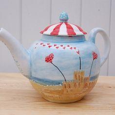 Bespoke Seaside Teapot, by Heather Richards Tea Pot Set, Pot Sets, Pin Maritime, Tea Blog, Teapots Unique, Paint Your Own Pottery, Pottery Painting, Painted Pottery, Cuppa Tea