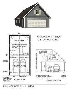 Two car garage with attic plan 480 1a 20 39 x 24 39 10 39 wall for 20 x 24 garage plans