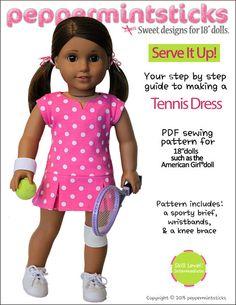 Peppermintsticks Serve It Up! Tennis Dress Doll Clothes Pattern 18 inch American Girl Dolls   Pixie Faire