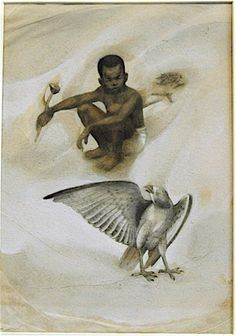 "Tom Feelings (1933-2003), pencil and gouache on tissue paper, from exhibition ""Lasting Impressions: Illustrating African-American Children's Books"", Los Angeles, 1994, ""Tales of Temba"""