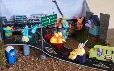 Peeps in traffic: Created by Martha Spencer, 50, and Caleb Spencer, 11, of Frederick, Md.; and Susan Shaw, 54, and Maggie Shaw, 17, of Chantilly, Va. 'Details include 'house in soundwall' at Gallows Road, PDOT construction workers, HOB (Bunny Only) lanes, 'peeps poo' porta-potty, and chick 'cheaters.' '