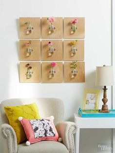 With dreamy photos of fresh flowers filling social media feeds everywhere, it's only natural to crave a bouquet or two for your own home. Rather than splurging on big bunches of live blooms, try picking up one small handful of cut stems from the supermarket, and spread them across multiple glass vases. When hung in wooden wall-mounted plaques like this DIY craft, you can make your modest flower budget go further./