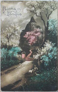 1919 Castello Buona Pasqua Amag n° 0566 cartolina con francobolli da 10 Helvetia