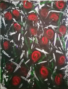 Bed of Roses Stationary Design, Unique Image, Fireworks, Oil On Canvas, Original Art, Contrast, Abstract Art, Roses, Watercolor