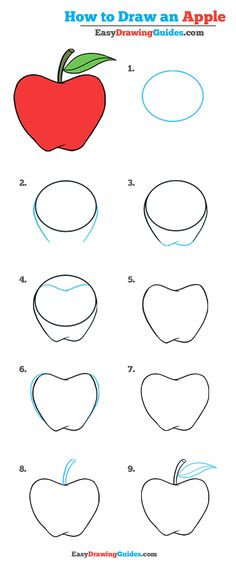 Drawing For Beginners - Learn to draw a tasty apple. This step-by-step tutorial makes it easy. Kids and beginners alike can now draw a great looking apple. Drawing Apple, Basic Drawing, Drawing Lessons, Step By Step Drawing, Drawing Techniques, Drawing Tips, Learn Drawing, Art Drawings For Kids, Realistic Drawings