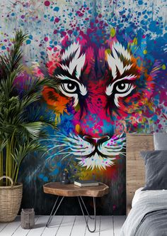 Stunning Tiger Art wall mural from Wallsauce. This high quality Tiger Art wallpaper is custom made to your dimensions. Transform your room with this tiger art wall mural. Perfect for teenage bedrooms, this striking graffiti mural is sure to creat Murals Street Art, Graffiti Wall Art, Graffiti Wallpaper, Graffiti Painting, Mural Wall Art, Street Art Graffiti, Tiger Wallpaper, Colour In Wallpaper, Graffiti Tagging