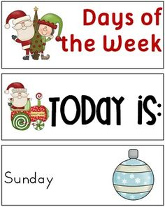 FREE Christmas Themed Days of the Week Cards - 3 pages $
