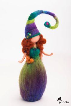 Petruska elf in green purple colors rainbow by PETRUSKAfairyworld