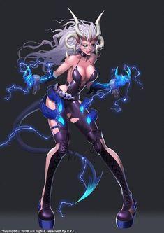 Lightning dragon Kali by Ta-bam on DeviantArt Fantasy Demon, Fantasy Warrior, Dark Fantasy Art, Anime Fantasy, Fantasy Girl, Female Character Design, Character Art, Fantasy Characters, Female Characters