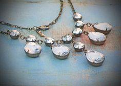 Crystal Necklace, Vintage Rhinestone, Bride, Wedding, Diamond, Jewelry by rewelliott on Etsy