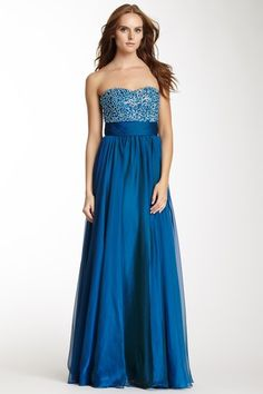 Embellished Bodice Strapless Gown by La Femme on @HauteLook