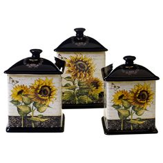 Brighten up your kitchen or dining room with this three-piece sunflower canister set. Coming in 56, 60 and 96 ounces, this set of canisters is poised to give your home a country vibe.