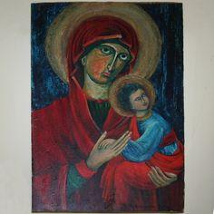 MADONNA  malowana na starej desce Danuta Rożnowska-Borys  BorysArt