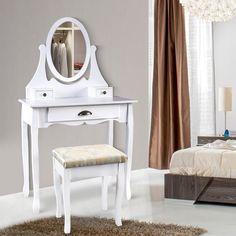 SEA218 Masă de machiaj pentru dormitor - http://www.emobili.ro/cumpara/sea218-set-masa-alba-toaleta-cosmetica-machiaj-oglinda-masuta-vanity-781 #eMobili