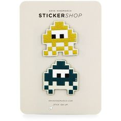 Anya Hindmarch Space Invaders Leather Stickers/Set of 2 ($89) ❤ liked on Polyvore featuring accessories, apparel & accessories, mustard and anya hindmarch