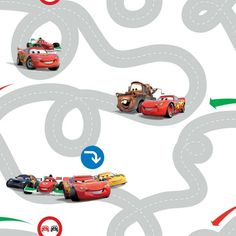 Buy Disney Cars Racetrack Wallpaper - Multicoloured at Argos.co.uk - Your Online Shop for Wallpaper, Wallpaper, painting and decorating, Home improvements, Home and garden.