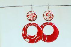 Red resin earrings retro chic design perfect door dirtyprettyartwear
