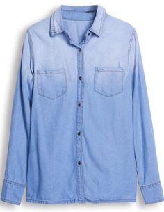 Blue Gradient Lapel Long Sleeve Denim Blouse - Sheinside.com