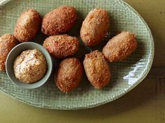 Mushroom Croquettes recipe from Food Network Kitchen via Food Network Food Network Recipes, Food Processor Recipes, Cooking Recipes, Holiday Appetizers, Appetizer Recipes, Vegetarian Appetizers, Yummy Appetizers, Thanksgiving Recipes, Holiday Recipes