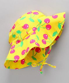 Protect little faces from lobster-like sunburns with this enchantingly adorned and durably made sunhat. Baby Swimwear, Sun Hats, Infant, Cherry, Take That, Invitations, Play, Yellow, Creative Ideas