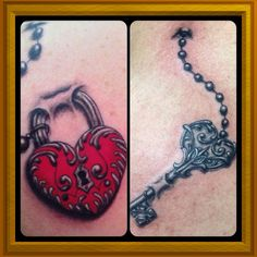 Couples Tattoo. Heart locket and key. Looks like they are under the skin!!