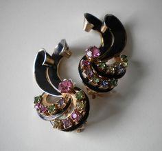 Retro 40's Earrings Rhinestone Pastel by eclecticappealjewels, $55.00