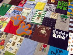Not sure what to do with all your old baby clothes?? But you don't have the heart to give or throw them away... Make a Baby Clothes Quilt!!!!! #Adorable     Not a quilter? Send your Onsies, pajamas, shirts, dresses, overalls, robes, caps, swimsuits, sweatshirts, halloween costumes to Jelly Bean Quilts and they will custom make a quilt for you!