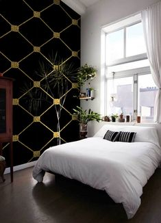 Gold glitter rhombus removable wallpaper golden and black wall mural wall art Removable Wallpaper, How To Install Wallpaper, Mural Wall Art, Gold Bedroom, Wall, Home Decor, Black Walls, Bedroom Wall, Gold Accent Wall Bedroom