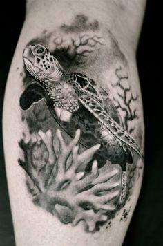 small sea turtle scene tattoo - Google Search