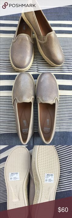 Clarks Women's Azella Theoni Slip-On Loafer Fall Flats, Fall Shoes, Back To School Shoes, Leather Flats, Autumn Summer, Metallic Leather, Clarks, Espadrilles, Loafers