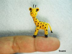 Cute Tiny Giraffe - Micro Crochet Miniature Animals - Standing Yellow Girrafe - Made To Order. $52.00, via Etsy.