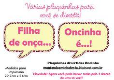 Montando a minha festa: Plaquinhas divertidas tema Oncinha rosa