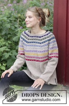 Rainbow Hugs - Knitted jumper with round yoke, stripes, multi-coloured pattern, worked top down with split in sides. Sizes S - XXXL. The piece is worked in DROPS Nepal. Free knitted pattern DROPS 183-25