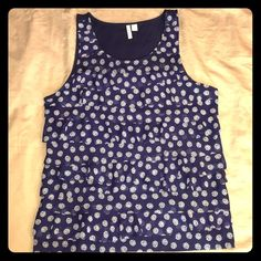 ELLE Ruffled Tank Size Large Navy ELLE Navy Ruffled Tank Size Large. In Like New Condition, worn once. No stains, snags  or blemishes. Elle Tops Tank Tops
