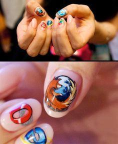 Web Browsers nail art