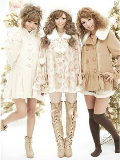 JAPAN LOVELY GALS fur collar hooded skirt thick coat_Outer_★ Makiko Online Shop ☆ Japan Gal's Collection ★
