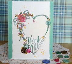 stamped Thank you card by May Flaum with 28 Lilac Lane embellishments