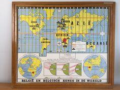 Wandkaart van België en Belgisch Congo (in de wereld)