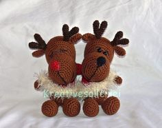 Crochet reindeers. (Inspiration. Pattern available to purchase but not in English).