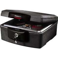 SentrySafe H2300CG Waterproof Fire Chest. The H2300CG provides protection from both fire and water. Black. ETL-verified 1/2-hour fire protection for CDs, DVDs, USB drives, and memory sticks. A continuous 360 degree jamb and waterproof seal completely insulates the interior from the threat of water invasion. A full-time spring latch seals the unit even when it is unlocked. Width: 1560, height: 820. Waterproof seal is ETL verified. Fire protection includes UL classified fire endurance...