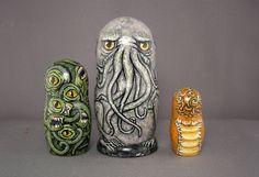 Cthulhu  Nesting Dolls Matryoshka Lovecraft Horror Figures Set of 3