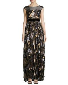 Floral-Sequined Sleeveless Gown, Bronze by Badgley Mischka at Neiman Marcus Last Call.