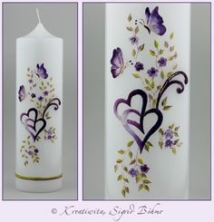 Hochzeitskerze DW 525 in violett und grün von Kerzenkunst - Kreatiwita auf DaWanda.com