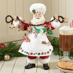 Kurt Adler Fabriche Tasty Treats Santa Figurine
